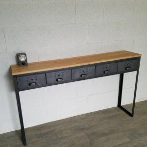 console style industriel à 5 tiroirs