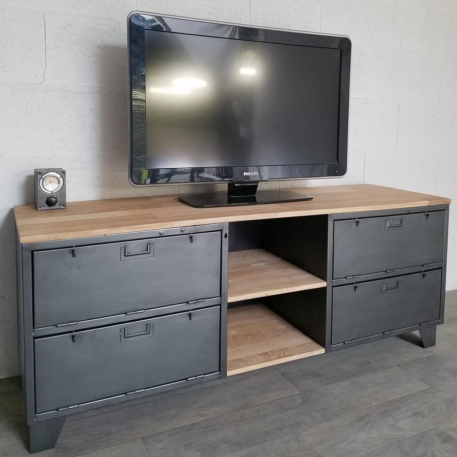 meuble tv industriel avec portes et niches ref phoenix. Black Bedroom Furniture Sets. Home Design Ideas