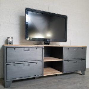 meuble tv industriel avec portes et niches