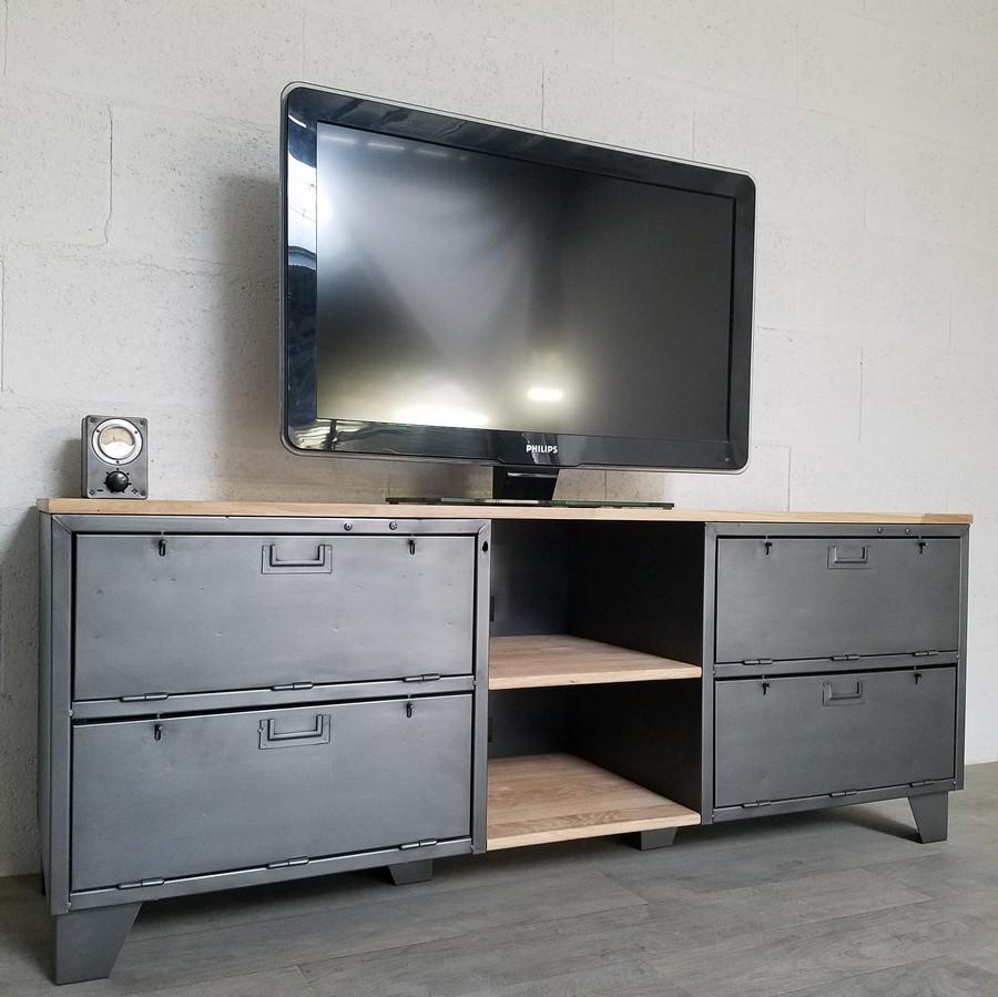 Meuble tv industriel avec portes et niches ref phoenix for Meuble avec niche