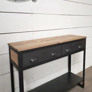 console style industriel 2 tiroirs